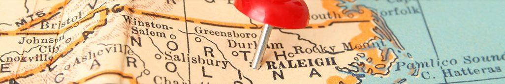 Map showing North Carolina